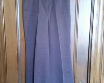Vintage Panther Brown Pants Made in the USA Wide Leg Crease Stove Pipe Leg