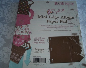"Mini Edgy Album Paper Pad 6.25"" x 7.25"" by BoBunny 12 Double Sided Patterns"