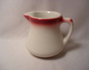 Vintage Restuarant Ware Stoneware White and Pink Creamer