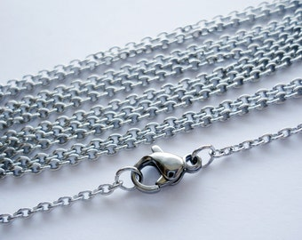 "17.75"" Stainless Steel Cable Chains - 17.75"" Long x 1.8mm Wide - 10 Finished Chains"