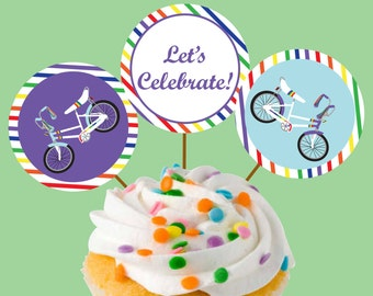 Instant Download Banana Seat Bicycle Rainbow Party Cupcake Toppers or Craft Circles