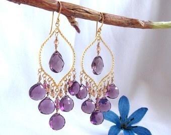 Kunzite Quartz Chandelier Earrings Purple Gemstone Earrings Dramatic Statement Earrings Gift for Her