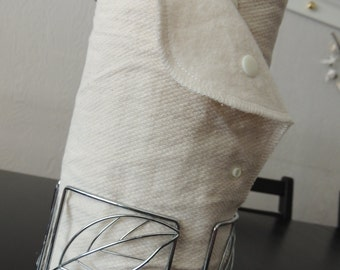 UNpaper Towels, Snapping Towels, Natural Unbleached Cotton, YOU CHOOSE Thread Colour