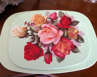 Vintage kitchen tin hotplate red and pink roses  vintage green retro