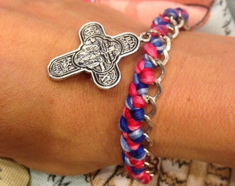Braided chain bracelet with cross