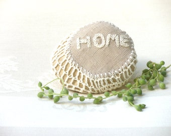 Crochet Lace Stone ,Cottage rustic decor, Upcycled Stone, Eco Friendly Home Decor, Paperweight, Door stop, Shabby chic Stone,