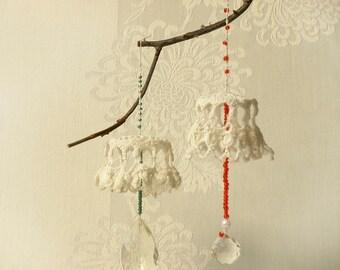 Crochet  wedding Decor, Crochet & Crystal  Ornaments , Holiday gifts, Wedding lace ornaments decor,  Shabby chic wedding decor.