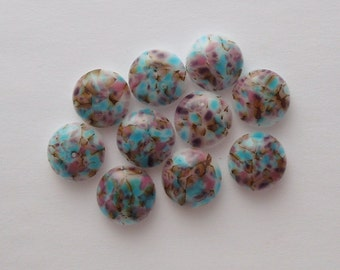 Fused Glass Mini Cabochons - Lampwork Beads - Fused Glass - Findings - Glass Beads - Pastel Beads 3212