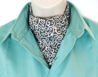New Ascot Tie Cravat.  100% cotton. White swirls on gray.
