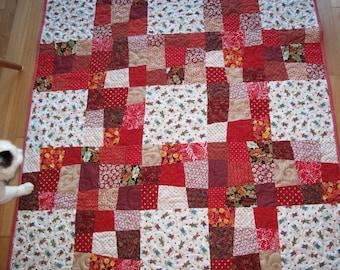 Red Patchwork Quilt -- Rag Dolls Quilt -- Valentine Quilt -- Baby Quilt -- Toddler Quilt -- Lap Quilt -- Tummy time Quilt -- Wonky Piecing