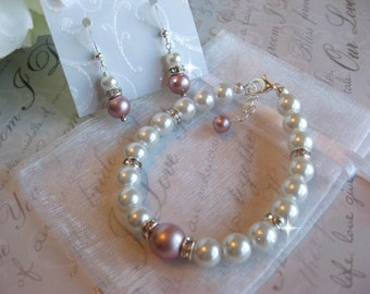 Swarovski Crystal Powder Pink Pearl and Rhinestone Bridal Bracelet and Earring Set - Bride or Bridemaid Jewelry Set -  Choose Your Color