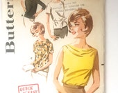 60s Butterick 2813 Blouse Front, Cowl, Short Sleeves - Size 12 Bust 32