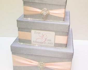 Wedding Gift Box, Card Box, Money Holder Envelope Reception Card Box - Custom Made