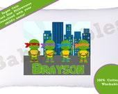 Personalized Pillowcase - Turtles Pillow case, children's pillow case, ninja turtles, teenage turtles, boy pillow case, room decor, children