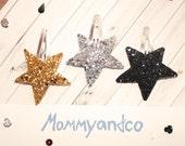 Glitter Hair Clips. Star Hair Clip. Gold Hair Clip. Baby Hair Clip. Girls Hair Clip. Silver Glitter Star Hair Clip.