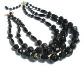 Vintage Jewelry Necklace in Graduated Black Glass with Triple Strands of Faceted & Gold Splash Beads - Vintage Jewelry Signed West Germany