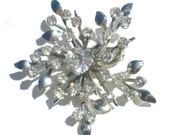 Formal Snowflake Vintage Brooch with Clear Rhinestones on Silver Rhodium Plating Signed by Coro - Vintage Costume Jewelry