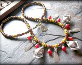 Rustic Earthy African Necklace, Bellydance Kuchi Jewelry, African Red Recycled Glass, African Brass, Ethnic Tribal Gypsy Jewelry