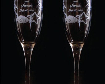 Shell & Starfish Toasting Flutes -  SET of 2 - Personalized - Engraved