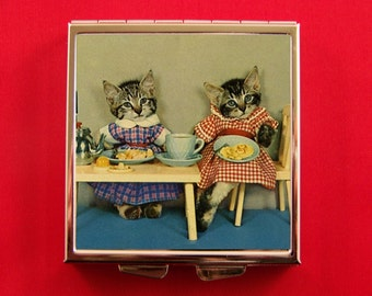 Pill Box Adorable Dressed Kittens Eating at Table Vintage Harry Whittier Frees Kitsch Cat Unique