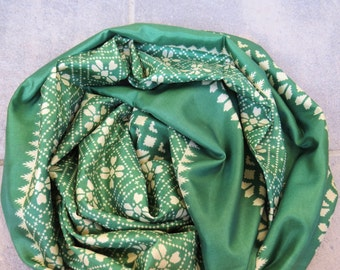 Scarf Beautiful Sari Scarf Versatile Upcycled VINTAGE Sari - floral cream forest green - autumn winter accessories