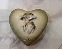 Vintage Heart Shaped Porcelain Dresser box Art Deco Lady Victorian Lady