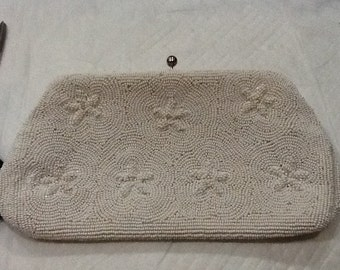 Vintage White Beaded Evening Bag White Clutch Japan