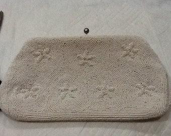 Vintage White Beaded Evening Bag White Clutch Japan