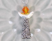 UU Chalice Pendant, Fireopal Swarovski Crystal, Silver Crescent, Ornate Pewter Cone, Unitarian Universalist