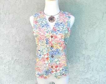 My Favorite Pretty in Pink Vest - Vintage 80s Floral Print Soft Denim Vest - S Small - All Over Graphic Print - Flower Power Design