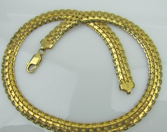 Italian Gold Panther Collar Necklace. 18K Gold Plated 925 Sterling Silver. Intricate Chain Links. Signed KC Italy. Modern Designer Jewelry