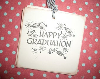 Graduation Tag - Happy Graduation - Set of Six - Handmade
