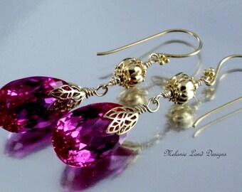 Bougainvillia ~ Fuchsia Topaz, Long Gold Earrings