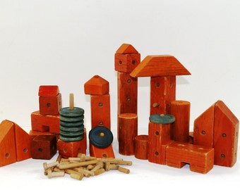 Vintage Wood Peg Building Blocks, Wheels, Pegs