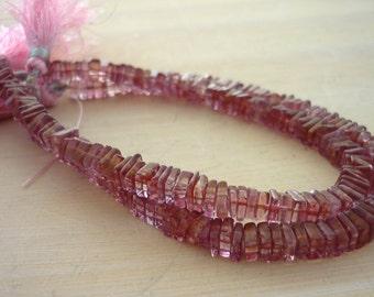 Mystic pink quartz square rondelle beads 4-5mm 1/2 strand