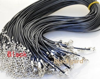 """50PCS Brown/Black Cord Necklace 18"""" 1.8mm /2mm Cord with Clasp Extende Chain Black Cord Necklace Brown Cord Necklace Rope Cord for Pendant"""