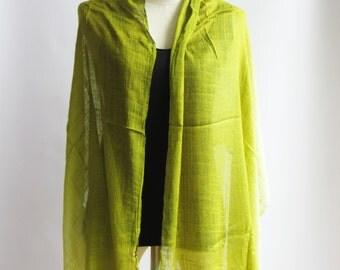 SC2, V Triple Light Green Cotton Scarf