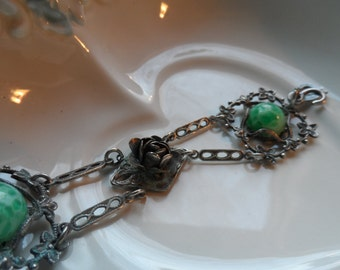 Hippie Bracelet, Cool Green and Silvertone