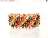 BLACK FRIDAY SALE Multicolored Bead Netted Bracelet