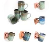 Hand thrown stoneware mug- MADE TO ORDER- Allow 6 weeks- choose your size and color / coffee mug   tea mug   custom mug   large mug /