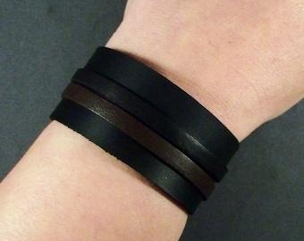 Black leather cuff, Brown Leather Cuff, Men's Cuff, Women's Cuff, Leather Wristband, Leather Bracelet, Black Bracelet, Gift, Thick Cuff