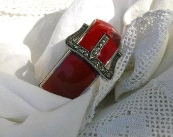 SALE Art Deco Red Enamel Chrome Marcasite Stone Buckle Bracelet