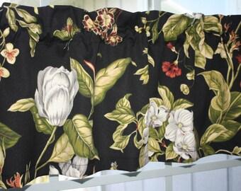 "Valance  Waverly Floral  Black Onyx Williamsburg 52"" x 13"""