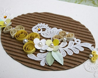 Quilled Card All Occasion Card Wedding, Anniversary, New Baby, Garden Lover, Birthday, Sympathy, Embellished Paper - Soft Yellows