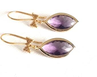 gold dangle earrings, Amethyst dangle earrings, gold earrings dangle, bow tie vermeil gold earrings, bridesmaids dangle earrings