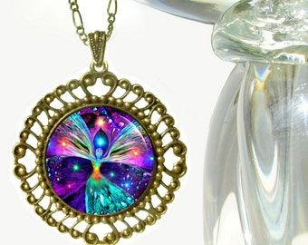 "Rainbow Chakra Reiki Healing Angel Necklace Pendant ""Bubbles of Clearing"""