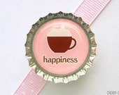Coffee Happiness Bottle Cap Magnet - coffee decor kitchen, coffee decoration, coffee favor, coffee gift, coffee lover, coffee party favors