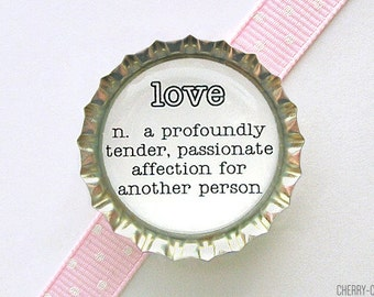 Love Dictionary Definition Bottle Cap Magnet - love definition, of love, black and white decor, kitchen organization, word art fridge magnet