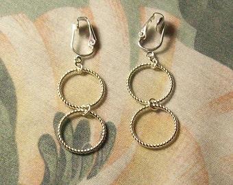 Lightweight Double Silver Spiral Hoop Clip On or Pierced Earrings