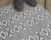 Woven Wool Floor Rug, Handwoven Wool Rug, Blue and Cream Wool Area Rug, Hand Woven Wool Rug, Wool Floor Rug, Hand Loomed Rug, Loomed Rug